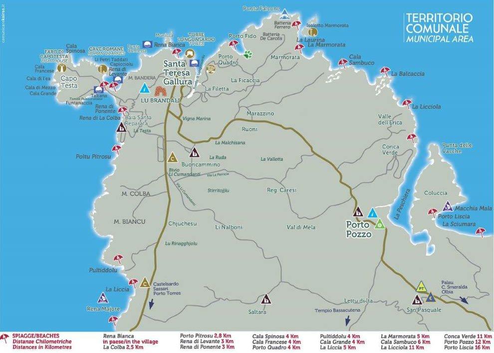 Santa Teresa Gallura Beaches Map | Sardinia Holidays 2020