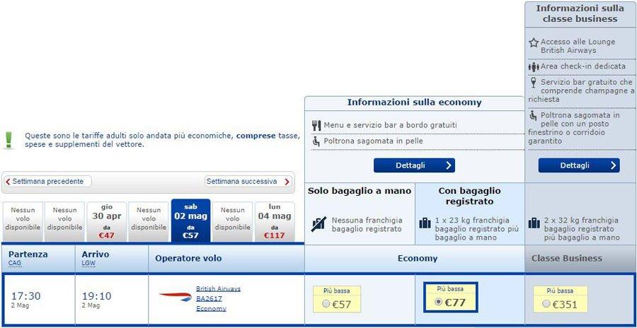 finest selection 88705 518a3 British Airways: Nuovi Voli da Cagliari e Olbia per Londra!