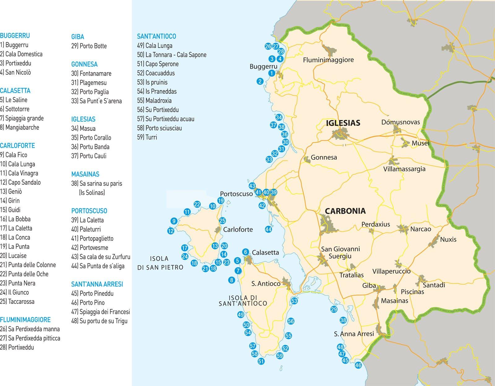 Cartina Sardegna Bosa.Cartina Delle Spiagge Del Sulcis Iglesiente